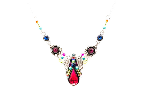 Multi Color Scarlet Camelia Simple Necklace by Firefly Jewelry