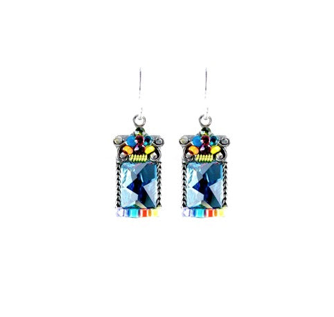 Multi Color Mosaic Square Crystal Earring by Firefly Jewelry