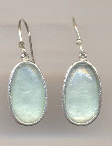 Simple Oval Washed Roman Glass Earrings