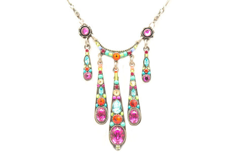Multi Color Stilleto 5-Drop Necklace by Firefly Jewelry