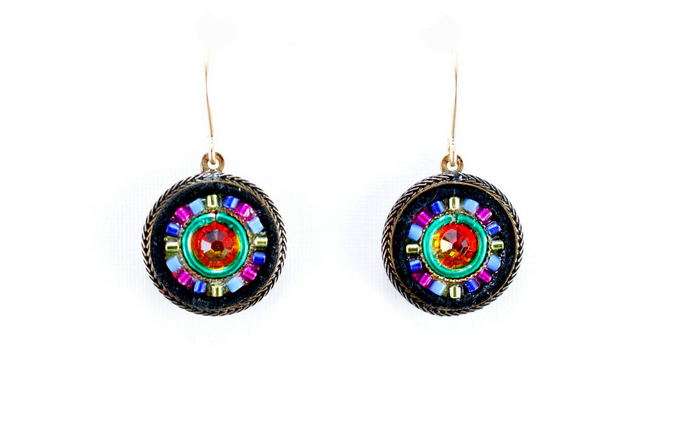 Multi Color Gold La Dolce Vita Round Earrings by Firefly Jewelry