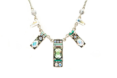 Aurora Borealis Crystal Dainty Bar Mini Necklace by Firefly Jewelry