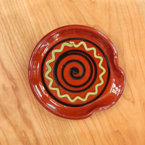 Redware Spoon Rest with Black Swirl and Green