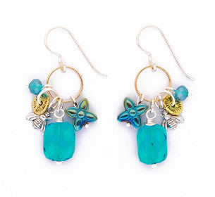 Blue Zirconium Glass Gold Ring Earrings by Desert Heart