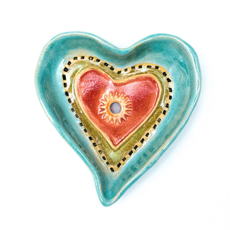 Heart Dish in Blue Ceramic Wall Art