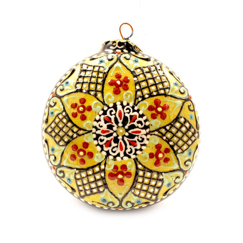 Yellow Background Neon Geometric Pattern on Round Ceramic Ornament