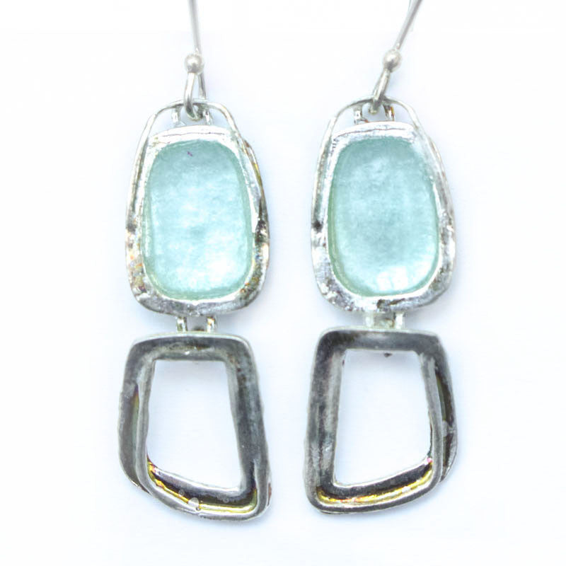 Open Abstract Rectangle Dangle Patina Roman Glass Earrings