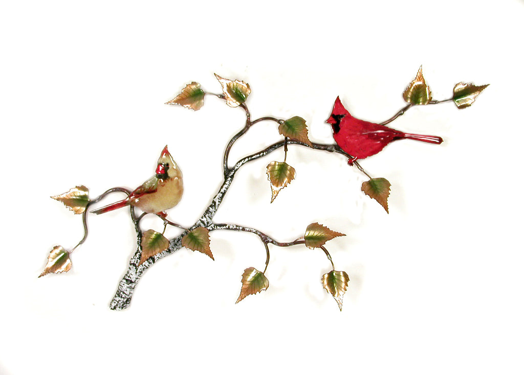 Cardinals (2) on Birch Branch Wall Art by Bovano Cheshire