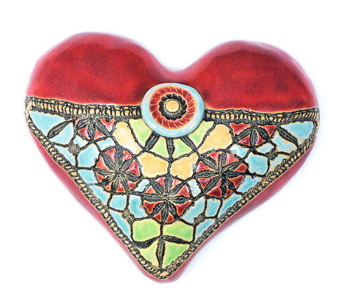 Blanket Stitch & Button Red Little Fatty Heart Cermaic Wall Art