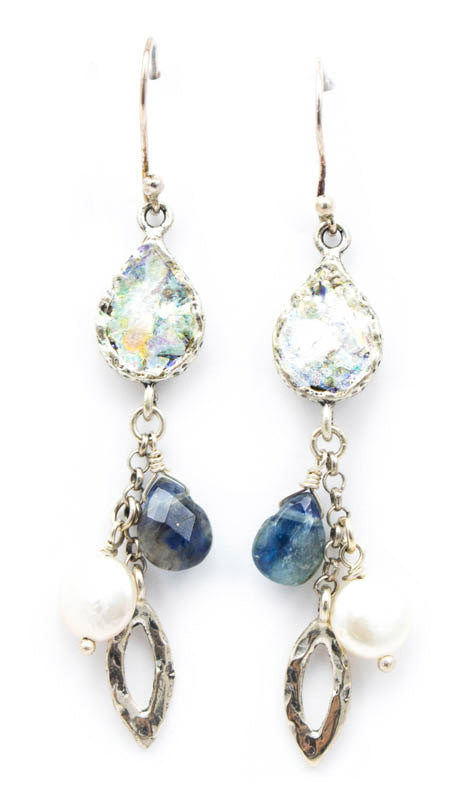 Triple Dangle Labradorite Pearl Roman Glass Earrings