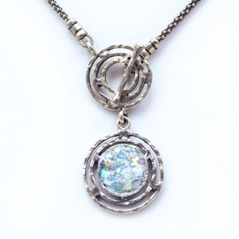 Double Circle Labrynth Roman Glass Necklace