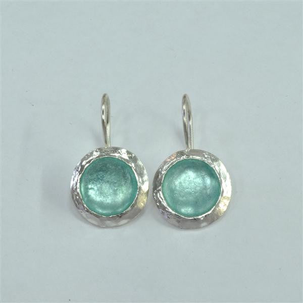 Flat Framed Round Washed Roman Glass Earrings