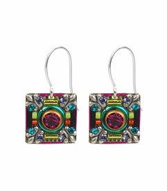 Multi Color Four Fleuar-De-Lis Elaborate Earrings by Firefly Jewelry