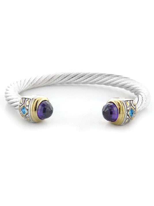 Nouveau Large Wire Cuff with Accent Stone Bracelet by John Medeiros