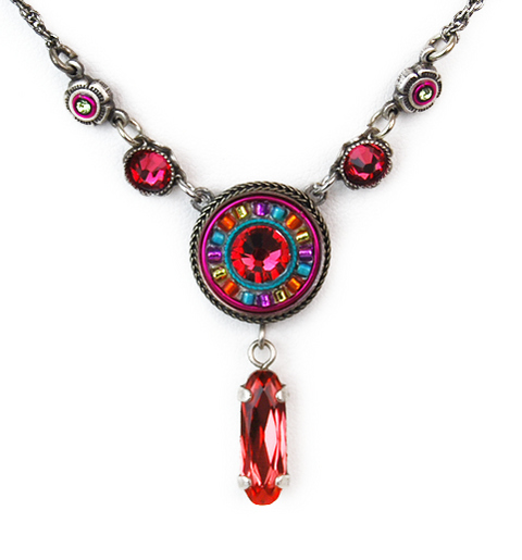 Padparadscha La Dolce Vita Circle with Y Drop Necklace by Firefly Jewelry