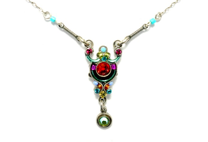 Multi Color Delicate Mosaic Roulette with Dangle Necklace by Firefly Jewelry