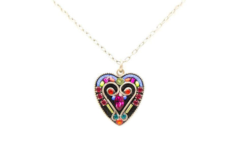 Multi Color Romantic Heart Pendant Necklace by Firefly Jewelry