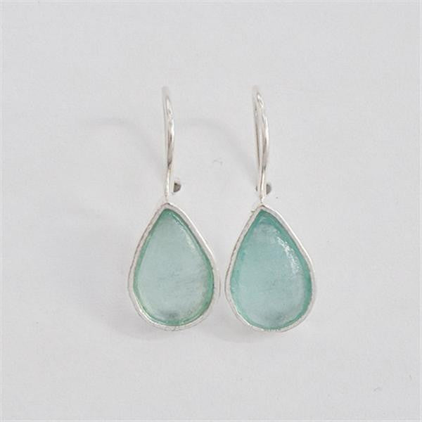 Simple Teardrop Washed Roman Glass Earrings