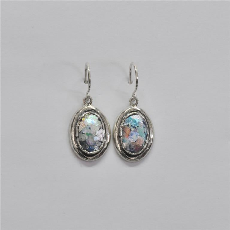 Shiny Silver Small Oval Roman Glass Earrings