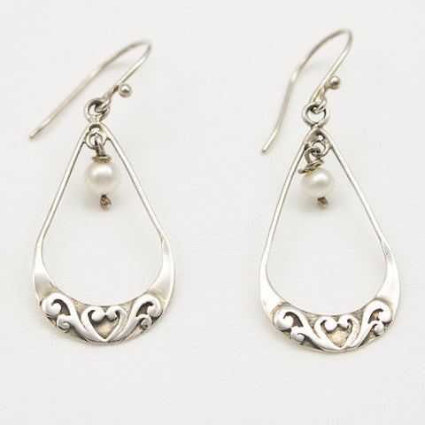 Sterling Silver Open Teardrop Dangle with Pearl Drop Earrings