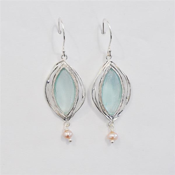 Marquise Washed Roman Glass Earrings with Freshwater Pearls