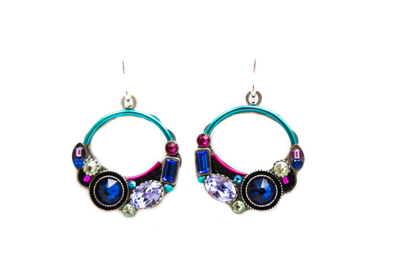Bermuda Blue Calypso Hoop Earrings by Firefly Jewelry