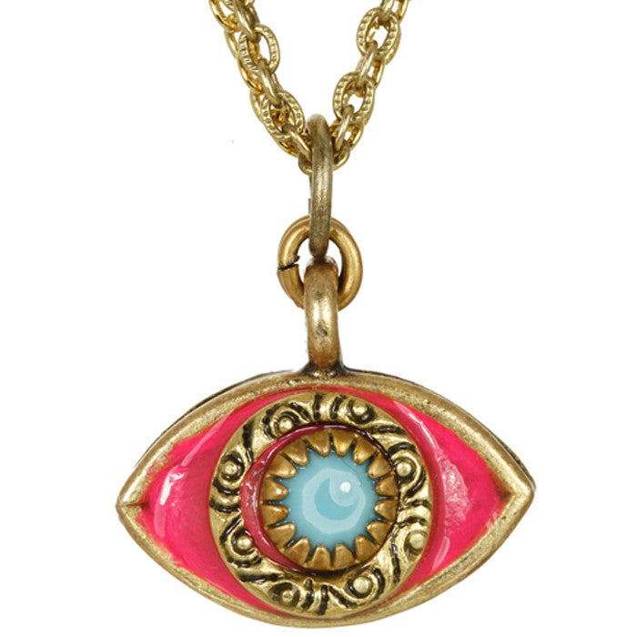 Pink and Blue Medium Evil Eye Necklace by Michal Golan