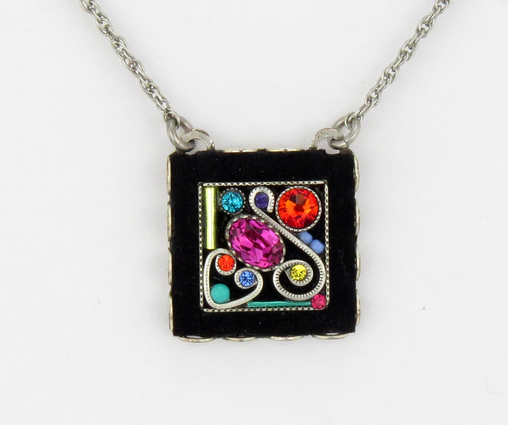 Multi Color Square Swirl Pendant Necklace by Firefly Jewelry