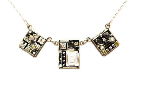 Black and White Geometric Three Square Necklace by Firefly Jewelry