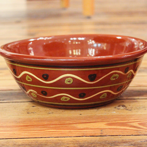 Redware 10'' Bowl with Waves and Dots