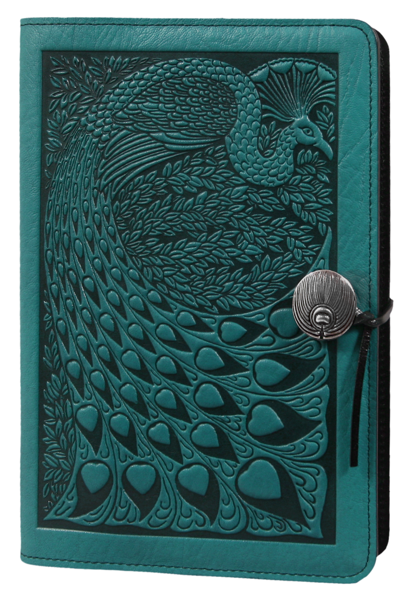 Small Leather Journal -  Peacock in Teal
