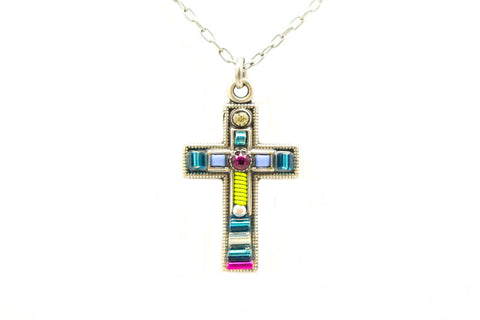 Blue Petite Cross Necklace by Firefly Jewelry