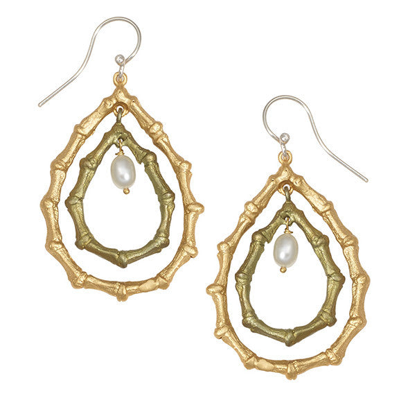 Bamboo Two Teardrop Pearl Earrings by Michael Michaud