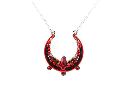 Red Lunette Pendent Necklace by Firefly Jewelry