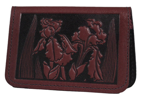 Leather Card Holder - Iris in Wine