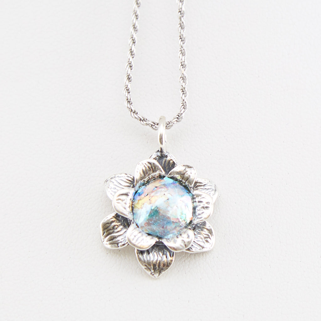Blooming Flower Roman Glass Necklace
