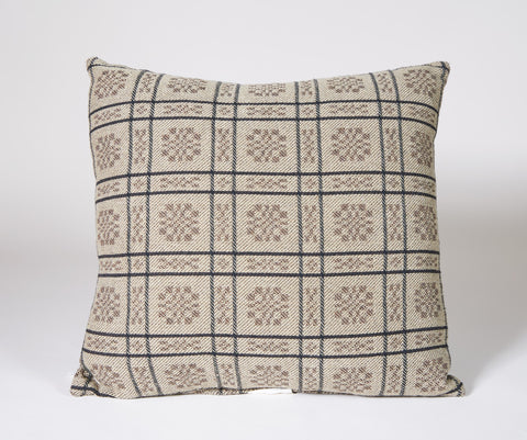 Rose & Trellis Pillow in Wheat and Brown