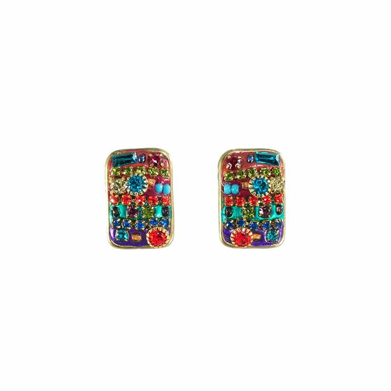 Multi Bright Rectangle Post Earrings by Michal Golan