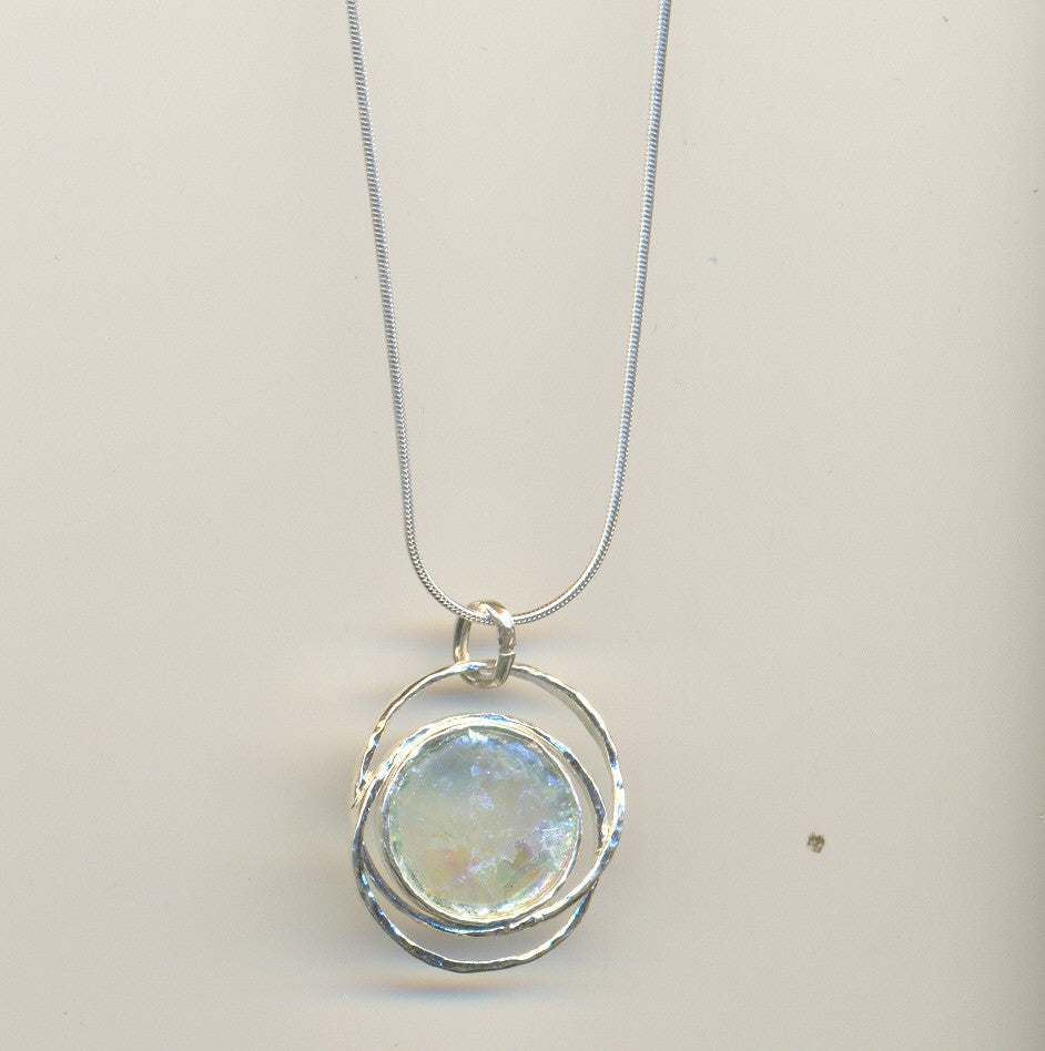 Ringed Round Patina Roman Glass Necklace