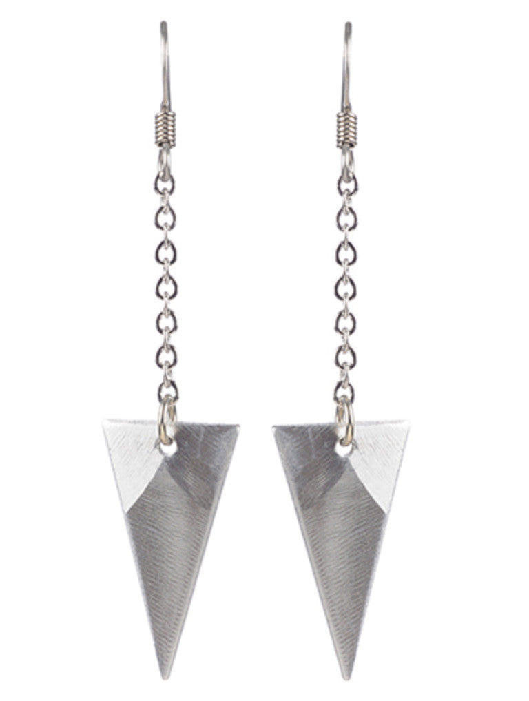 Small Triangle on Chain Earrings