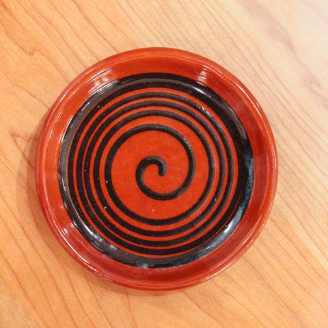 Redware Coaster with Big Black Swirl