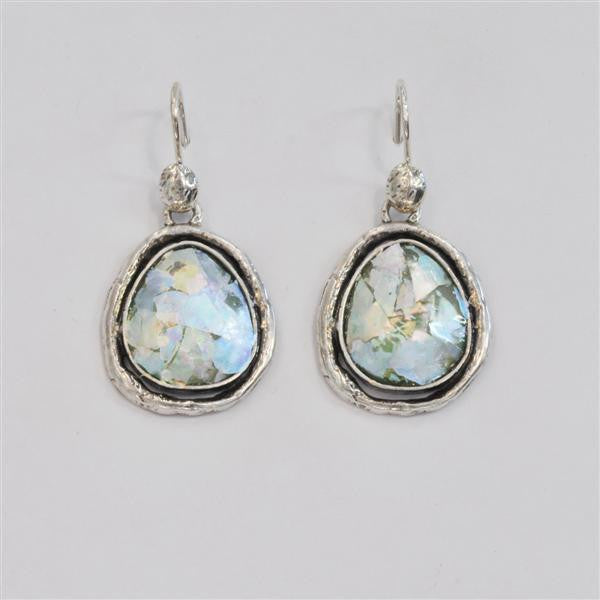 Organic Framed Round Patina Roman Glass Earrings