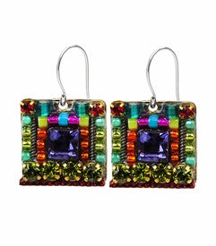 Multi Color Complex Square Earrings by Firefly Jewelry