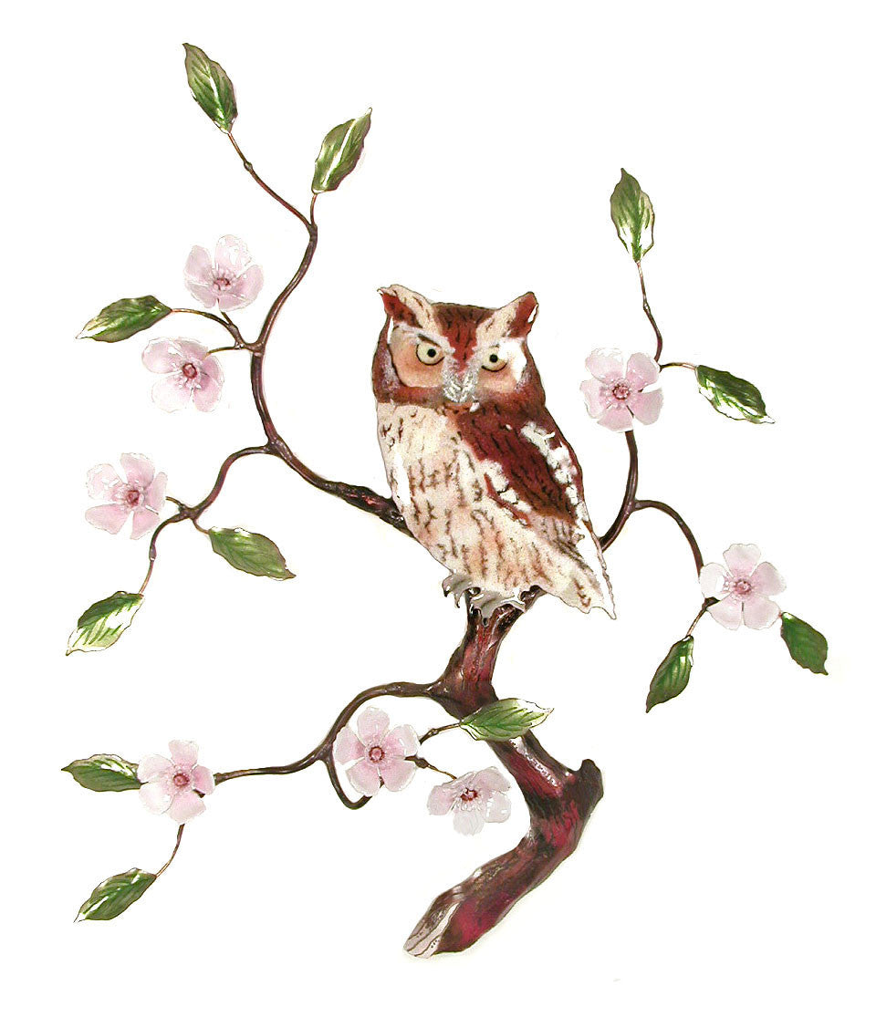 Screech Owl in Cherry Blossom Tree Wall Art by Bovano Cheshire