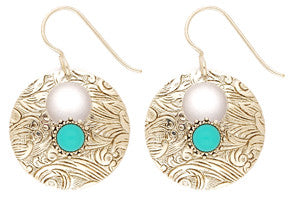 Dance of the Sun Turquoise Disc Earrings by Desert Heart