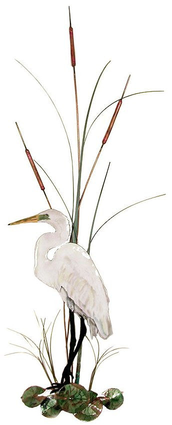 Large White Egret with Cattails Wall Art by Bovano Cheshire