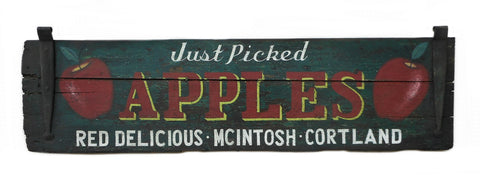 Just Picked Apples Red Delicious, Mcintosh, Cortland (Antique Shutter) Americana Art