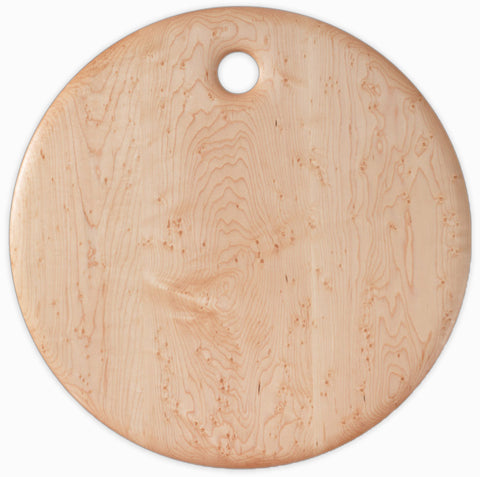 Bird's Eye Maple Round Breadboard - 20 inches