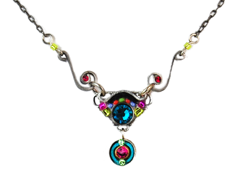 Multi Color Petite Delicate Mosaic Necklace by Firefly Jewelry