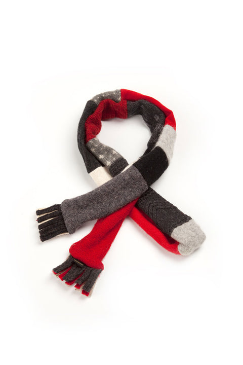 Wool Skinny Scarf in Red, Black, Grey